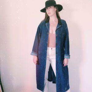 Vintage 80s Lee Jean Jacket Duster Workwear